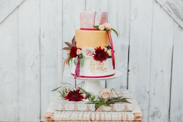 Marble and gold leaf wedding cake