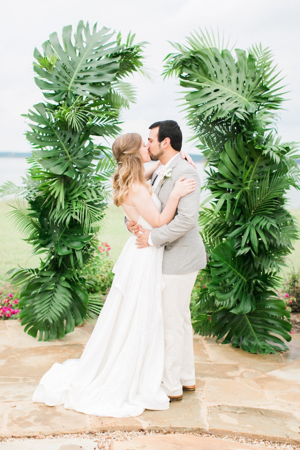 Palm leaf ceremony backdrop