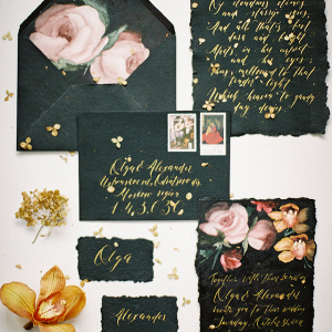 Black calligraphy invitation suite