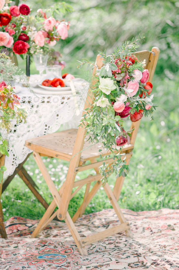 Floral covered chair