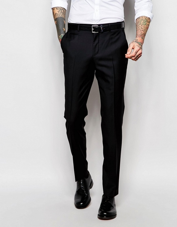 100% Wool Black Slim Fit 3 Piece Suit Trousers