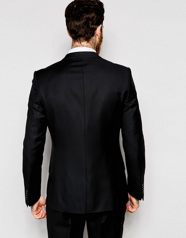 100% Wool Black Slim Fit 3 Piece Suit Jacket