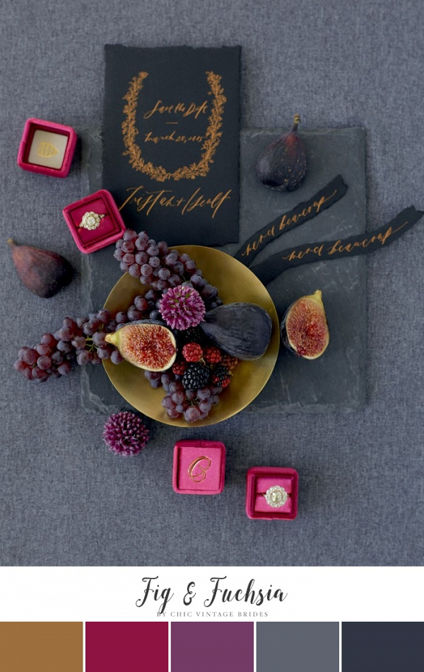 Fig & Fuchsia Winter Wedding Color Palette