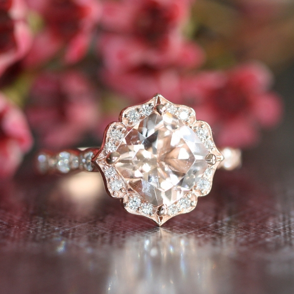 14k Rose Gold Floral Morganite Engagement Ring