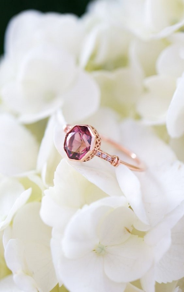 Pink Solitaire Engagement Ring