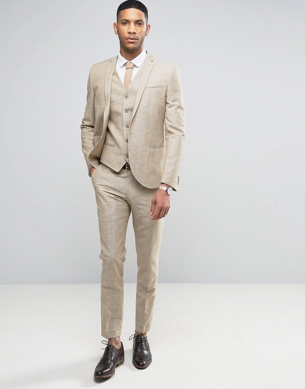 Modern 3 Piece Stone Linen Groom's Suit