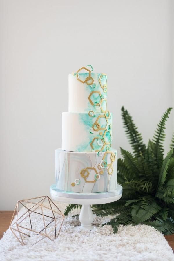 Geometric & Water color Marble Wedding Cake