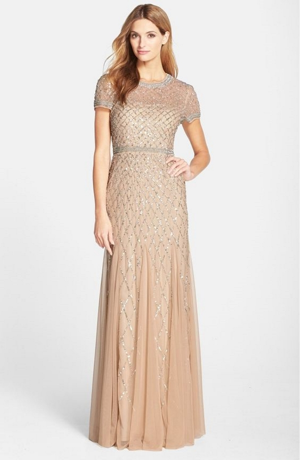 Adrianna Papell Blush Beaded Mesh Gown