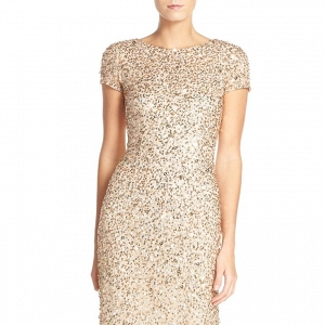 Adrianna Papell Short Sleeve Sequin Dress