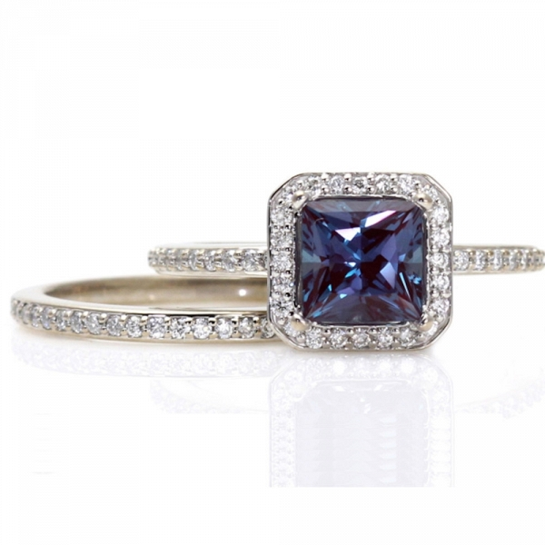 Alexandrite Halo Engagement Ring & Matching Diamond Wedding Band Set