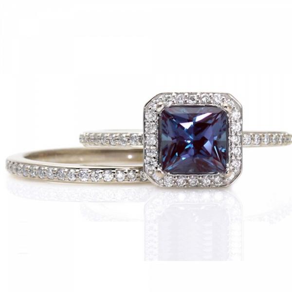 Alexandrite Halo Engagement Ring & Matching Diamond Wedding Band Set