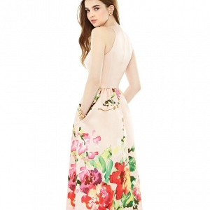 Alfred Sung Watercolor Floral Print A-Line Gown