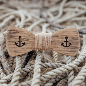 Anchor Wooden Ring Bearers Bow Tie