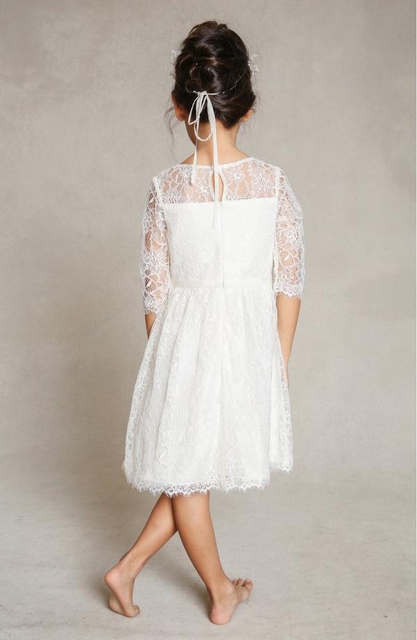 'Annie' Floral Appliqué Lace Flower Girl Dress
