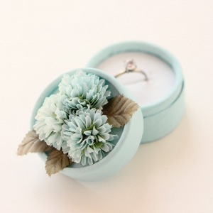 Aqua Blue Vintage Ring Box