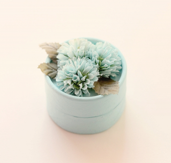 Round Aqua Blue Vintage Ring Box