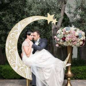 Art Deco moon backdrop on Chic Vintage Brides