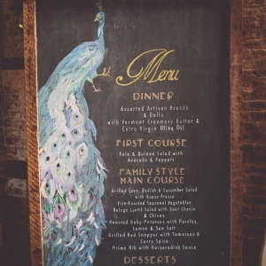 Peacock Chalkboard Wedding Menu | Photography - Chris Spira Photography