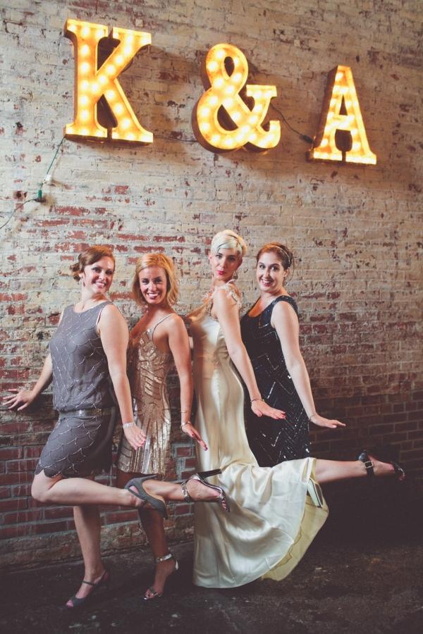 Glamorous Art Deco Inspired Bride & Bridesmaids | Photography - Chris Spira Photography