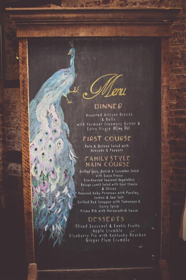 Peacock Chalkboard Wedding Menu | Photography - Chris Spira Photography