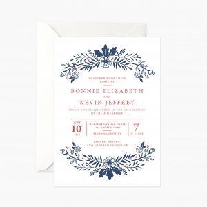 Red, White & Blue Wedding Invitation