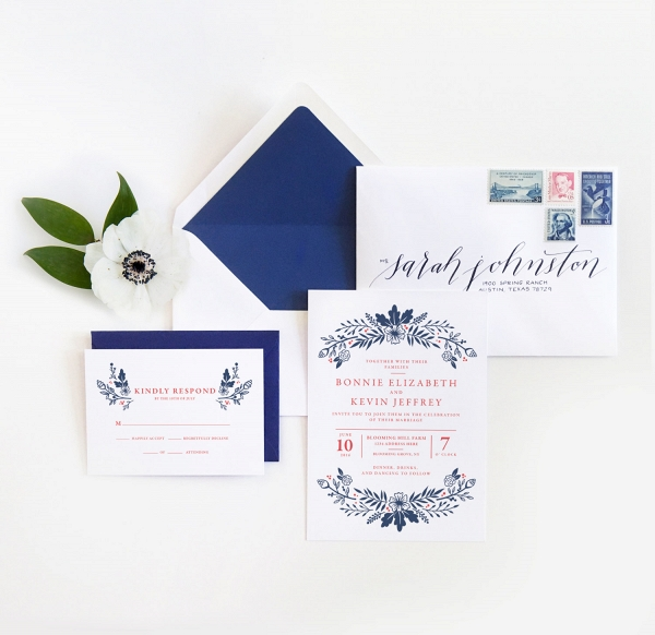 Red, White & Blue Floral Wedding Stationery