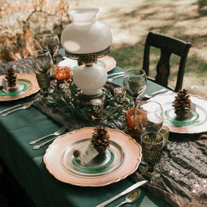 Fall vintage wedding tablescape with pinecone place settings