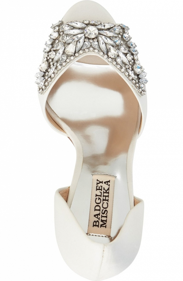 Badgley Mischka 'Candance' Crystal Embellished d'Orsay Peep Toe Bridal Pump