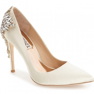 Badgley Mischka 'Gorgeous' Crystal Embellished Pointy Toe Bridal Pump