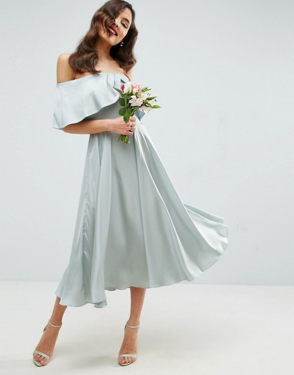 Bardot Fold Midi Bridesmaid Dress