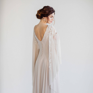 Batwing Sleeve Wedding Dress Back