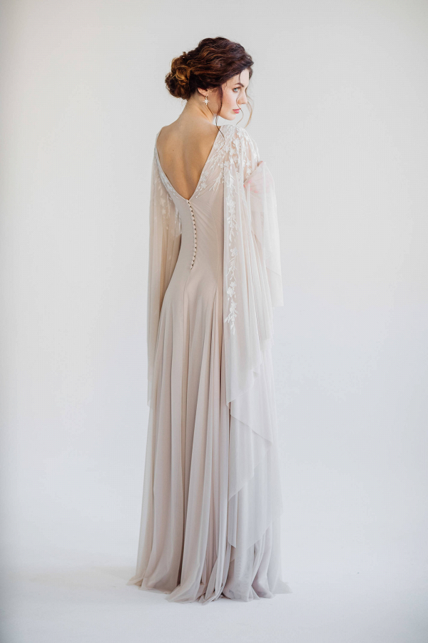 Batwing Sleeve Wedding Dress Back
