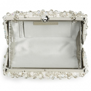 Silver Beaded Box Bridal Clutch