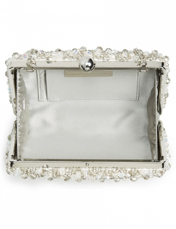 Silver Beaded Box Bridal Clutch