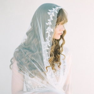Beaded Chapel Length Mantilla Veil