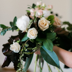 A Beautifully Organic Bridal Bouquet in Palest Peach & Ivory