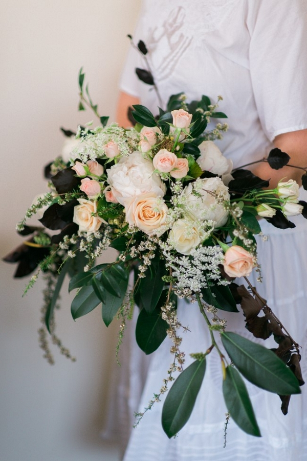 A Beautiful Vintage-Inspired Bridal Bouquet in Palest Peach & Ivory