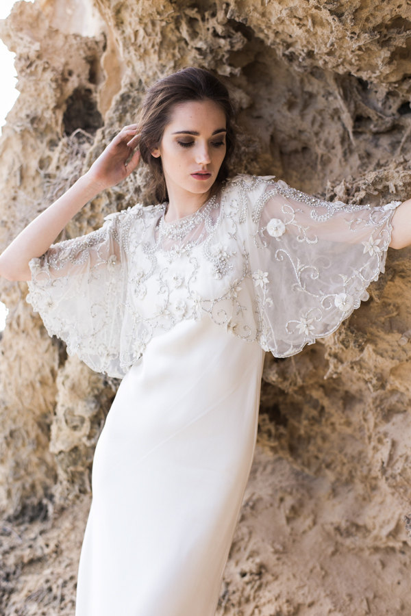 Beautifully Embroidered and Beaded Bridal Cape