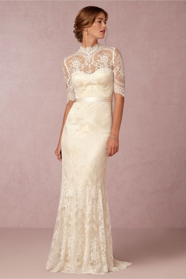 BHLDN 'Bridgette' High Neck Half Sleeve Lace Wedding Dress