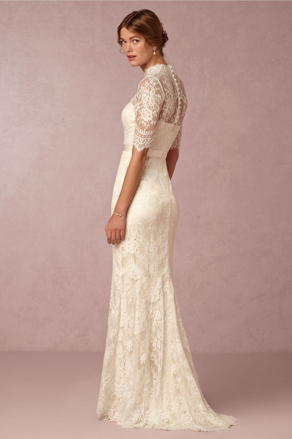Bhldn Bridgette High Neck Half Sleeve Lace Wedding Dress