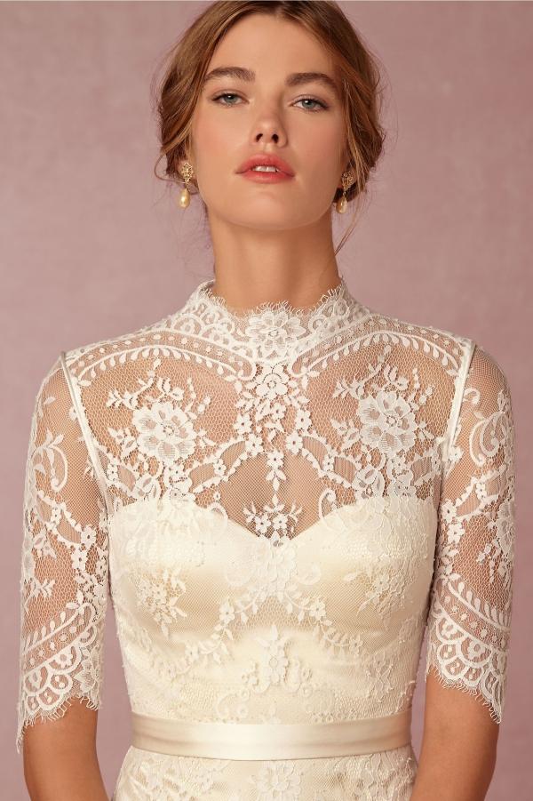 BHLDN 'Bridgette' High Neck Half Sleeve Lace Wedding Dress