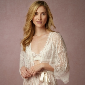 BHLDN 'Leandra' Ivory Lace Bridal Robe