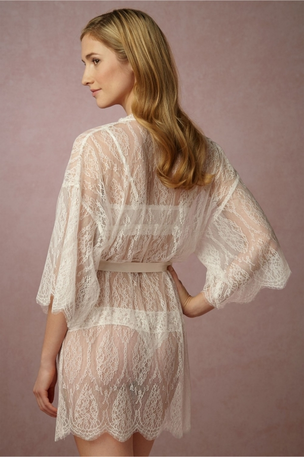 BHLDN 'Leandra' Ivory Lace Bridal Robe