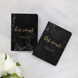 Black Marble Wedding Vow Books