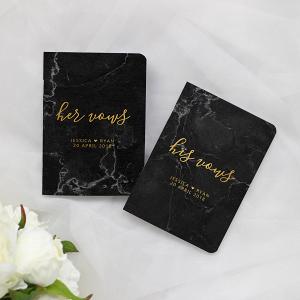 Black Marble Wedding Vow Books