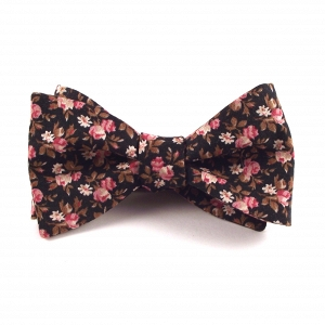 Black, Pink & Gold-Brown Floral Bowtie