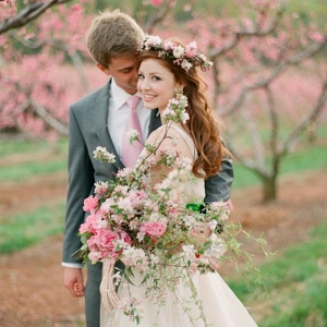 Spring Orchard Elopement Bride & Groom
