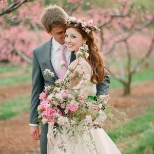 Spring Orchard Elopement Bride & Groom