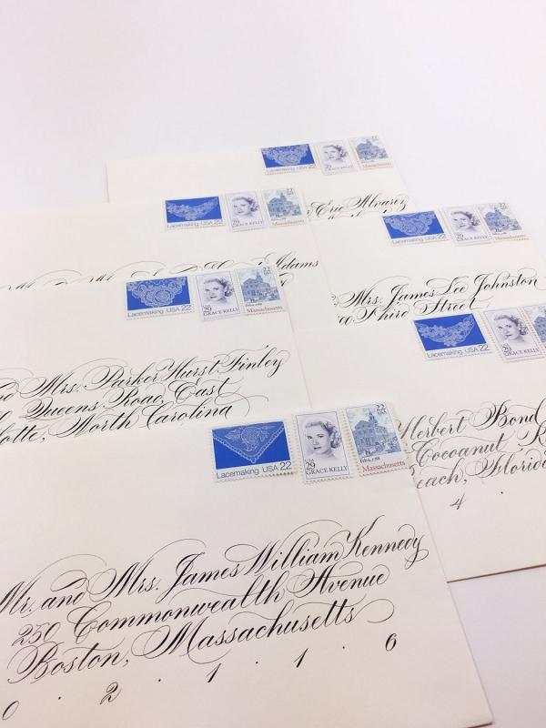 Set of Blue Grace Kelly Vintage Stamps