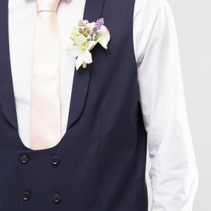 Blue Skinny Wedding Waistcoat